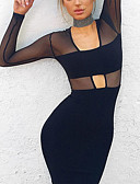 cheap Party Dresses-Women's Cut Out Daily Skinny Bodycon Dress - Solid Colored Mesh Fall Black S M L