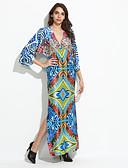 preiswerte Damen Kleider-Damen Boho Hülle Kleid - Rückenfrei Gespleisst Druck Maxi V-Ausschnitt