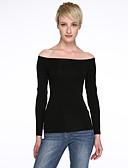 preiswerte T-Shirt-Damen Solide Ausgehen Baumwolle T-shirt, Bateau Ausgeschnitten / Sommer / Herbst