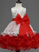 preiswerte Kleider für Mädchen-Baby Mädchen Schleife Ausgehen Einfarbig Ärmellos Kleid / Party / Spitze / Mehrschichtig