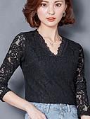 رخيصةأون قمصان نسائية-نساء تي شيرت لباس يومي أنيقة & حديثة لون الصلبة V رقبة كم طويل دانتيل
