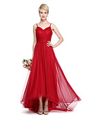 cheap Evening Dresses-A-Line Spaghetti Strap Asymmetrical Chiffon / Tulle Bridesmaid Dress with Criss Cross / Ruched by LAN TING BRIDE® / Beautiful Back