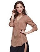 billige Topper til damer-Bomull Løstsittende V-hals Skjorte Dame - Ensfarget, Grunnleggende Gatemote Strand Arbeid Ut på byen