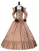 Χαμηλού Κόστους Λουλουδάτα φορέματα για κορίτσια-Πριγκίπισσα Γοτθική Λολίτα Κλασσική / Παραδοσιακή Lolita Rococo Κομψό Victorian Δαντέλα Επίσημο Χοροεσπερίδα Γυναικεία Φορέματα Cosplay Καφέ Βραδινή τουαλέτα Φλοράλ Σκουφί Μακρυμάνικο Μακρύ Μήκος
