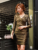 cheap Women's Dresses-Women's Party / Going out / Club Vintage / Sophisticated Bodycon / Shift / Sheath Dress - Solid Colored Ruched / Criss Cross V Neck Spring Gold M L XL