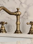 preiswerte Hochzeit Schals-Waschbecken Wasserhahn - Verbreitete Antikes Kupfer 3-Loch-Armatur Zwei Griffe Drei Löcher