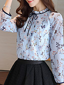 cheap Print Dresses-Women's Work Blouse - Floral Flower / Ruched Stand / Spring / Summer / Ruffle