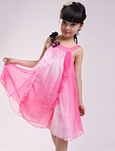 cheap Girls' Clothing-Girl's Daily Going out Patchwork Dress, Cotton Summer Sleeveless Lace Fuchsia