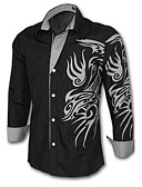 cheap Men's Shirts-Men's Plus Size Slim Shirt - Geometric Print Classic Collar / Long Sleeve