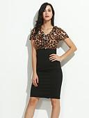 billige Kjoler i plusstørrelser-Dame Store størrelser Kroppstett Kjole Kjole - Leopard V-hals