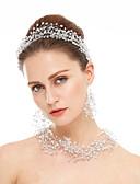 hesapli Kokteyl Elbiseleri-Kristal Yapay Elmas Düğün Parti Özel Anlar Kristal Yapay Elmas Saç Mücevheri 1 Kolye 1 Çift Küpe