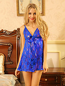 cheap Women's Lingerie-Women's Ultra Sexy Robes Nightwear - Lace Bow Mesh, Solid Colored