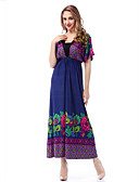 رخيصةأون فساتين نسائية-فستان نسائي قياس كبير متموج بوهو طباعة طويل للأرض شاطئ