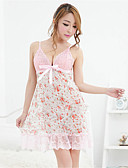 cheap Women's Nightwear-Women's Normal Suits Nightwear, Straped Floral - Medium Lace Organza Pink