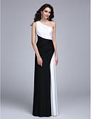 hesapli Gece Elbiseleri-Sütun Tek Omuz Yere Kadar Jarse Yan Drape ile Resmi Akşam Elbise tarafından TS Couture® / Zıt Renkler