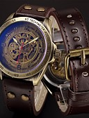cheap Men's Watches-Men's Sport Watch Military Watch Wrist Watch Automatic self-winding 50 m Cool Punk Stainless Steel Genuine Leather Band Analog Luxury Vintage Casual Black / Blue / Silver - Brown Bronze Silver / Blue