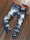 baratos Calças e Shorts Masculinos-Homens Algodão Reto Jeans Calças - Sólido