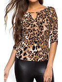 cheap Bodysuit-Women's Going out Holiday Street chic T-shirt - Leopard