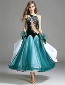 hesapli Balo Dansı Giysileri-Balo Dansı Elbiseler Kadın's Performans Tül / Kadife Fırfırlı / Kristaller / Yapay Elmaslar Kolsuz Doğal Elbise / Eldivenler