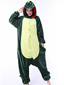 cheap Evening Dresses-Adults' Kigurumi Pajamas Dragon Dinosaur Onesie Pajamas Coral fleece Green Cosplay For Men and Women Animal Sleepwear Cartoon Festival / Holiday Costumes