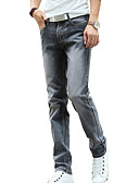 ieftine Pantaloni Bărbați si Pantaloni Scurți-Bărbați Bumbac Drept / Blugi Pantaloni - Mată Gri