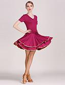 preiswerte Damen Röcke-Latein-Tanz Kleider Damen Training / Leistung Milchfieber Kurze Ärmel Normal Kleid / Latintanz