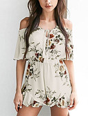 cheap Women's Jumpsuits & Rompers-Women's Holiday / Going out Boho Romper - Floral, Backless Boat Neck / Summer / Fall