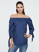 baratos Blusas Femininas-Mulheres Blusa Moda de Rua Fenda, Sólido Decote Canoa