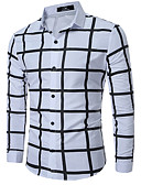 cheap Men's Shirts-Men's Plus Size Cotton Shirt - Solid Colored Color Block Plaid