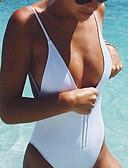 billige Bikinier og damemote 2017-Dame stuper Solid / Sport / stuper halsen Grime Hvit En del Badetøy - Ensfarget M L XL / Sexy