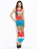 baratos Vestidos de Mulher-Mulheres Tubinho Vestido - Fenda / Estampado, Tie-Dye Longo