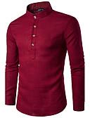 זול חולצות לגברים-אחיד צווארון עומד(סיני) כותנה, חולצה - בגדי ריקוד גברים
