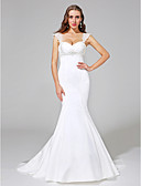cheap Wedding Dresses-Mermaid / Trumpet Straps Court Train Satin Made-To-Measure Wedding Dresses with Beading / Criss-Cross by LAN TING BRIDE® / Open Back