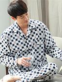 abordables Pijamas y Batas para Hombre-Hombre Cuello Camisero Traje Pijamas - Estampado, A Cuadros