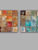 baratos Suporte para Lembrancinhas-Pintura a Óleo Pintados à mão - Abstrato Modern / Estilo Europeu Incluir moldura interna / Lona esticada