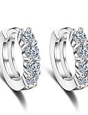 hesapli Nedime Elbiseleri-Kübik Zirconia Halka Küpeler - Som Gümüş Gümüş Uyumluluk Düğün / Parti / Günlük