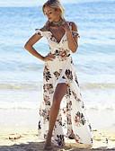 cheap Cocktail Dresses-Off Shoulder Beach Maxi Dress White Women's Dresses, Split Print Deep V Summer White M L XL / Floral
