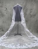 baratos Véus de Noiva-Uma Camada Borda com aplicação de Renda Véus de Noiva Véu Catedral Com Apliques Tule