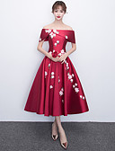 cheap Prom Dresses-A-Line Off Shoulder Tea Length Satin Cocktail Party / Prom Dress with Appliques by LAN TING Express