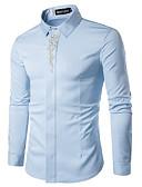baratos Camisas Masculinas-Homens Camisa Social Estampado, Sólido Algodão Colarinho Clerical / Manga Longa