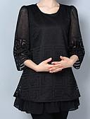 hesapli Kadın Üstleri-Solid Vintage Çin Stili Çalışma Büyük Bedenler Tişört