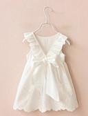 preiswerte Abendkleider-Mädchen Kleid Ausgehen Solide Baumwolle Sommer Ärmellos Schleife Weiß