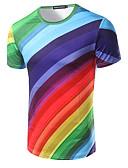 billige T-skjorter og singleter til herrer-Bomull Rund hals T-skjorte Herre Trykt mønster Aktiv