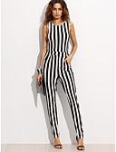 voordelige Dames jumpsuits & rompers-Dames Uitgaan Verfijnd Jumpsuit - Gestreept, Print Haak / Gestreept  / Lente / Zomer / Fine Stripe / Slank