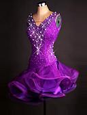 お買い得  ソシアルダンスウェア-ラテンダンス ドレス 女性用 性能 スパンデックス / オーガンザ クリスタル / ラインストーン ノースリーブ ドレス