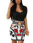 cheap Women's Dresses-Club Bodycon Dress - Floral Backless High Rise Strap / Summer / Fall / Slim