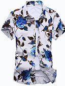 cheap Men's Exotic Underwear-Men's Beach Boho Cotton Slim Shirt - Floral Print Classic Collar / Short Sleeve