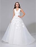 abordables Vestidos de Novia-Corte en A Escote en Pico Corte Tul / Encaje floral Vestidos de novia hechos a medida con Apliques por LAN TING BRIDE®