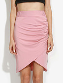 cheap Women's Skirts-Women's Work Bodycon Skirts - Solid Colored, Pleated Split