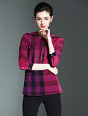 billige Jakke & Trench Coat-Dame - Multi Farve Bomuld, Trykt mønster I-byen-tøj Skjorte